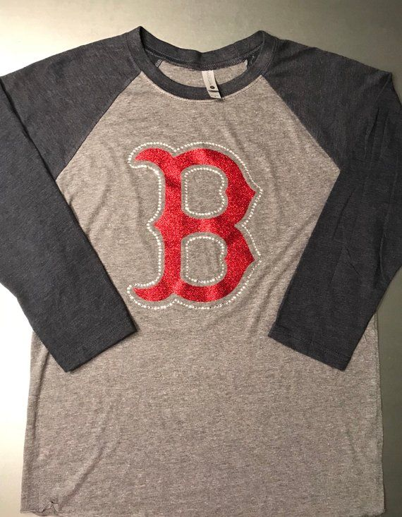 9a24d6f2 Baseball Tee with Vintage Navy 3/4 sleeves, red glitter Boston logo  outlined in crystal rhinestones. This tee has nice soft jersey feel ...