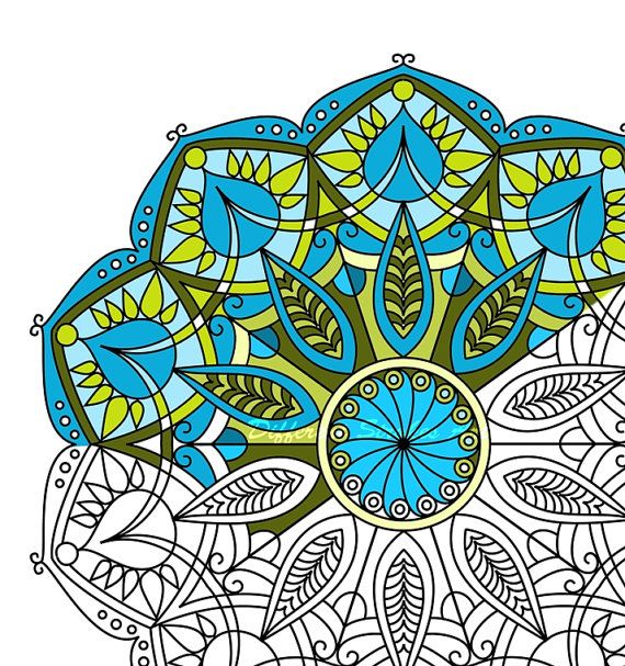 Mandala Coloring Page Printable For Adults Downloadable Art Color Therapy Relax