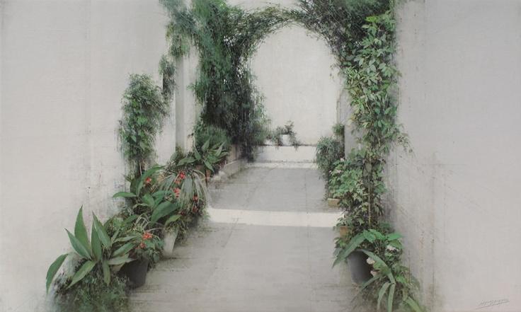 callejon con macetas  60 x 100 cm.  oli sobre fusta