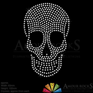 easy to apply skull logo, handcrafted design with crystal diamantes for a professional touch