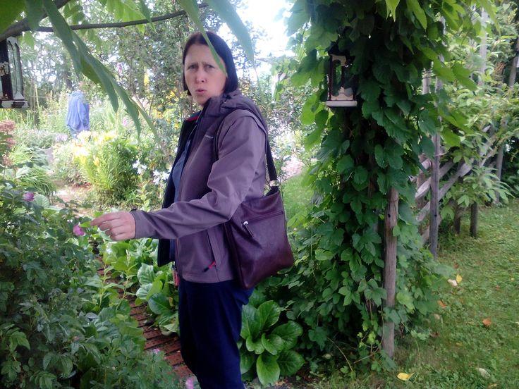 Kävimme Annen kanssa lintukodossa ihastelemassa puutarhaa! Anne ihmetteli pienen pientä ruusua!
