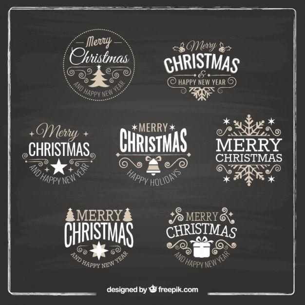 Różne retro Boże Narodzenie dekoracyjne naklejki Darmowych Wektorów