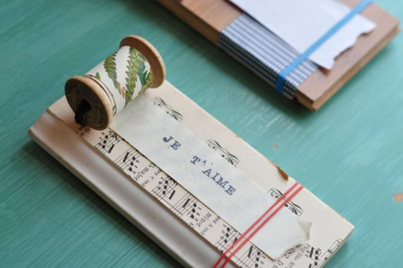 Notepad on a plaque: Music sheet, spool, and the back of patterned paper