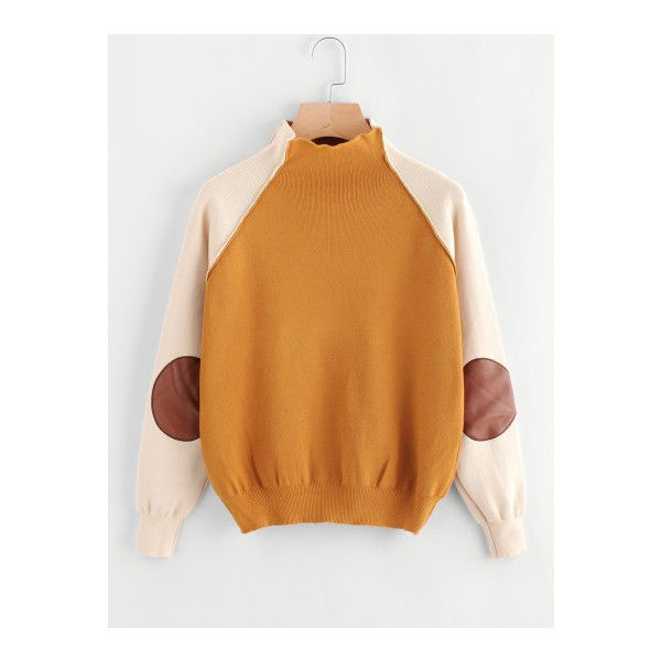 High Neck Contrast Raglan Sleeve Patch Sweater ❤ liked on Polyvore featuring tops, sweaters, beige sweater, high neckline tops, patch sweater, beige top and raglan top