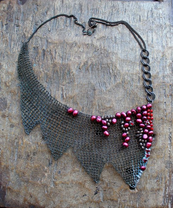 Bloody Mary Wire Crocheted Bib OOAK Necklace with by Ksemi on Etsy, $199.00