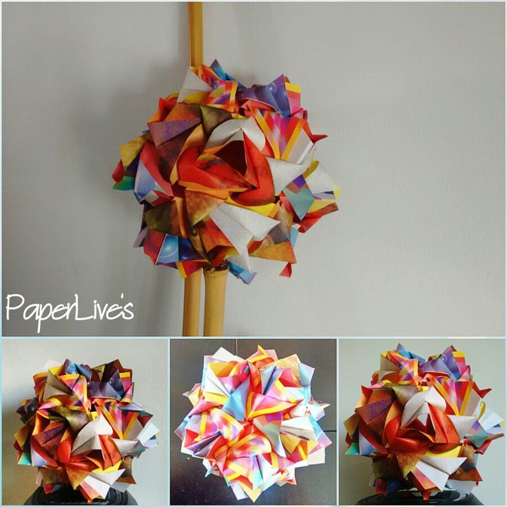 Little roses Kusudama by Maria Sinaiskaya,  Folded by me