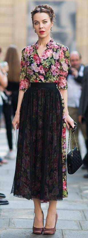 floral blouse, spring summer, black lace midi skirt, street style
