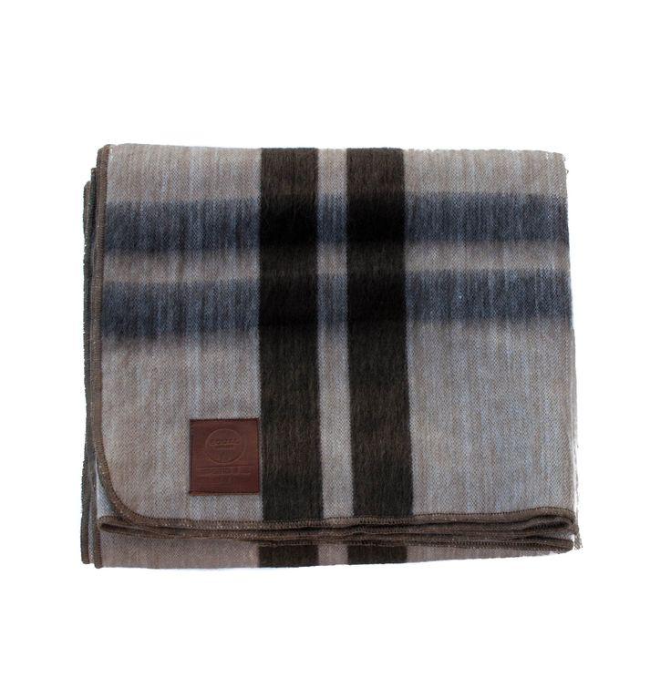 Alpaca Blanket - Tan & Brown Frame