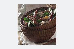 Spinach Salad with Warm Balsamic Walnut Dressing recipe - add those Easter eggs...