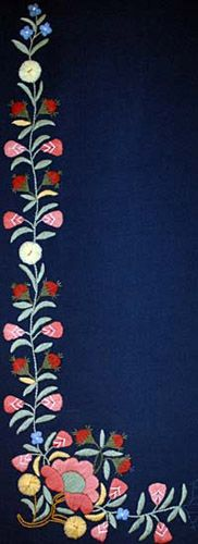Embroidery pattern of Erfjord in Rogaland, Norway. The pattern was reconstructed from a bonnet found in Erfjord.