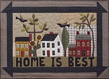Primitive Folk Art Quilt Pattern - Home is Best Applique Quilt Pattern