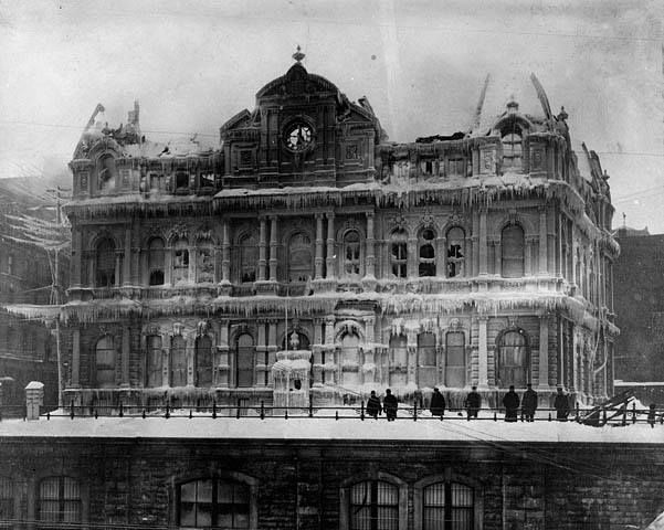 Frozen aftermath of the Post Office fire in 1904. This is where the War Memorial is now.