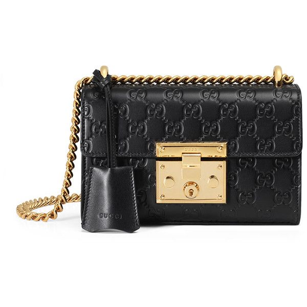 Gucci Padlock Gucci Signature Small Shoulder Bag ($1,850) ❤ liked on Polyvore featuring bags, handbags, shoulder bags, black, leather purses, leather flap handbags, flap handbags, genuine leather purse and real leather purses