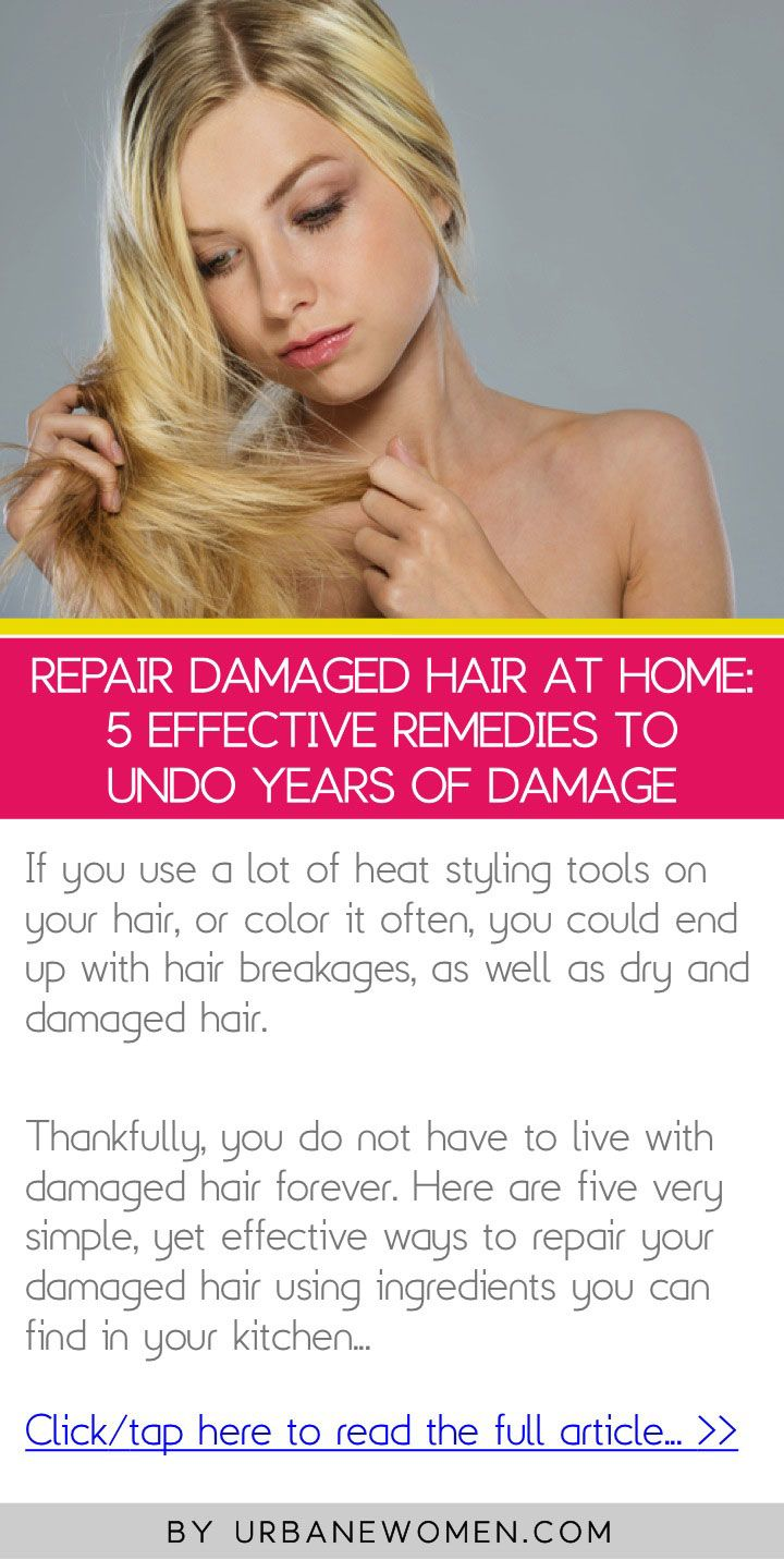 Repair damaged hair at home: 5 effective remedies to undo years of damage - Click to read the full article: http://www.urbanewomen.com/repair-damaged-hair-at-home-5-effective-remedies-to-undo-years-of-damage.html