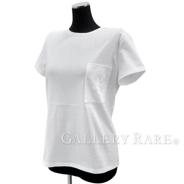エルメス Tシャツ 半袖 白 レディースサイズ34 HERMES 服 刺繍ポケット