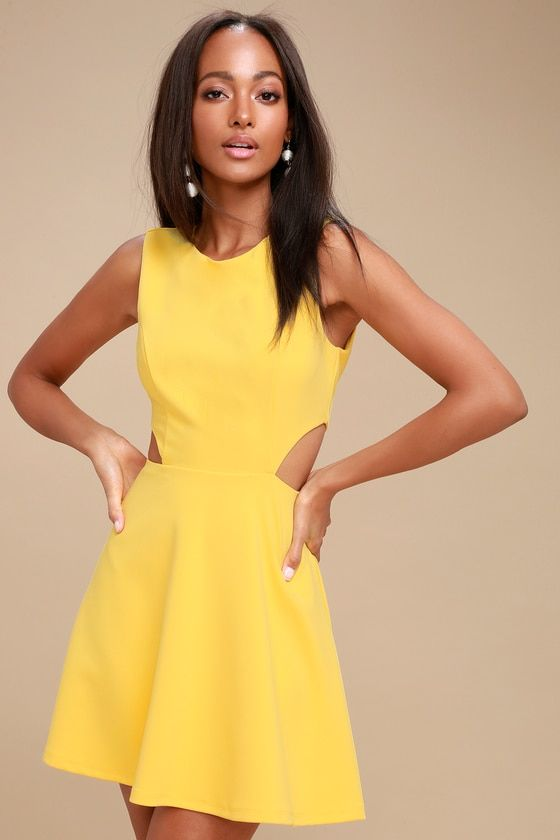 f762dcf18766  28 - Dance the night away in the Toast to You Yellow Cutout Skater Dress!  A sleeveless bodice with a rounded neckline is met by a flirty skater skirt.