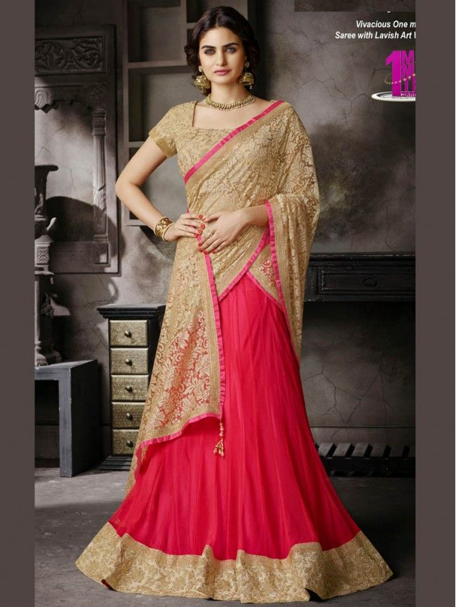 Red with Beige color Party Wear Lehenga Saree