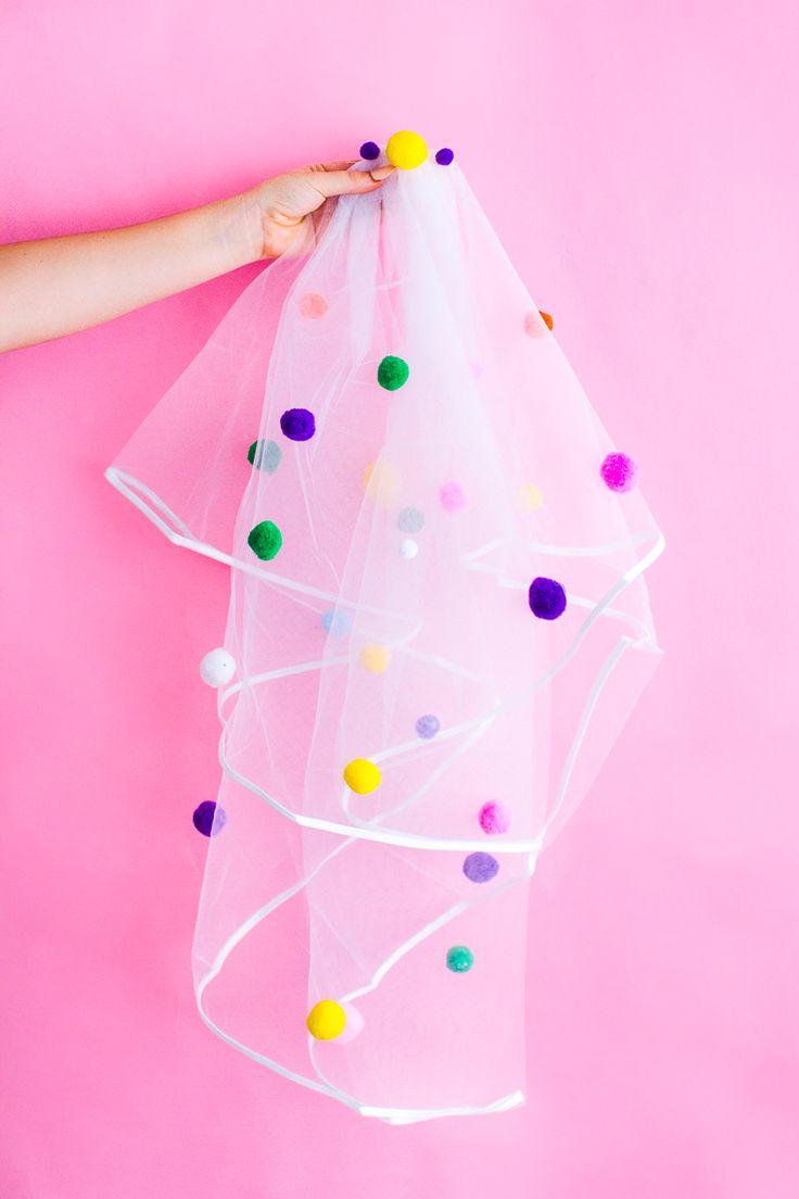DIY Pom Pom Veil | Unique wedding accessories | Hen party | bridal shower | bachelorette party |