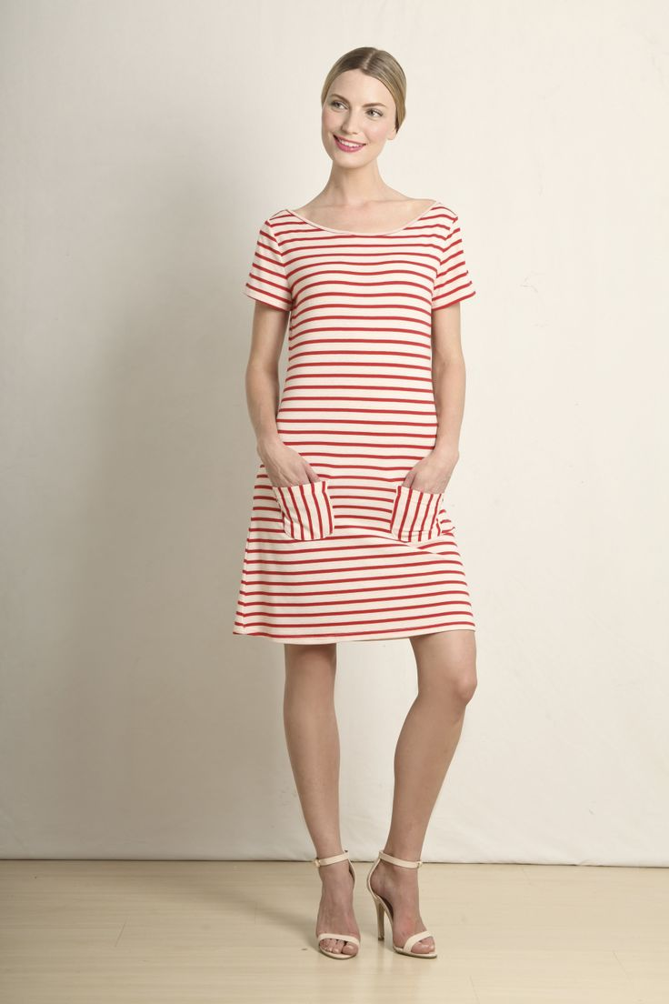 Emmie t-shirt dress in red and cream stripe  GB199-RED  R420.00  www.georgieb.com