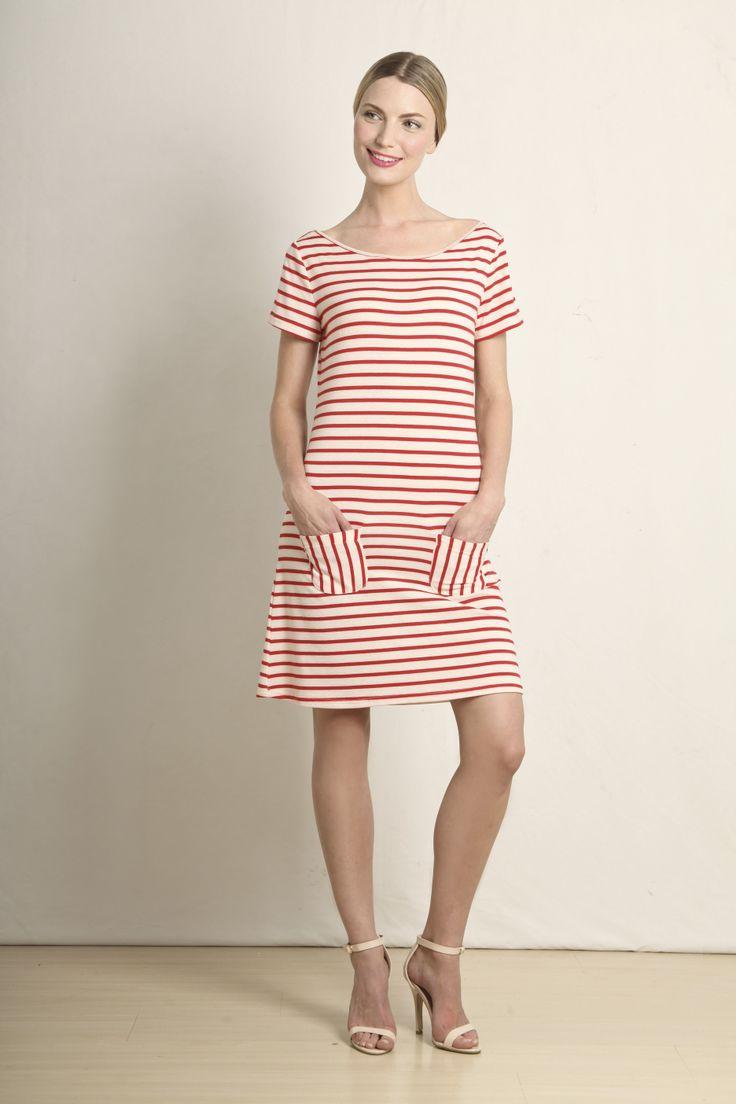 Emmie t-shirt dress in red and cream stripe  GB199-RED  R420.00  www.georgieb.com