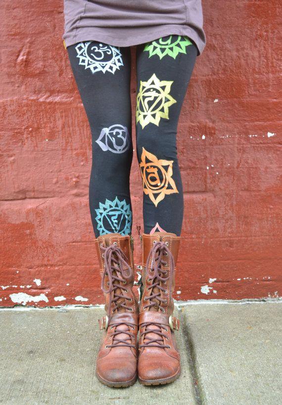 Handmade/Organic Chakra Yoga Art Leggings by heARTIlluminate