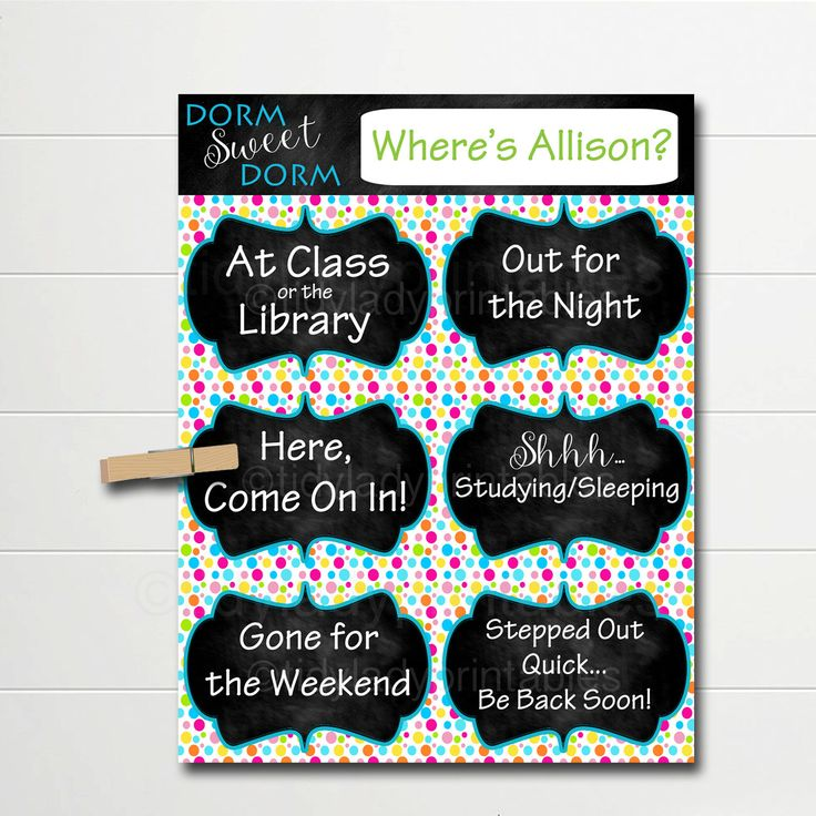 PERSONALIZED Dorm Door Sign, Dorm Room Decorations, College Student Gifts, Personalized Door Hanger, Dorm Sweet Dorm, College Schedule Sign by TidyLadyPrintables on Etsy https://www.etsy.com/listing/471872457/personalized-dorm-door-sign-dorm-room