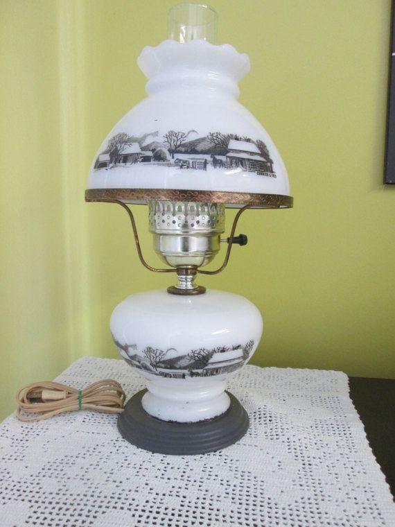 Vintage Lampe Currier & Ives/ Vintage Swig Currier  Ives