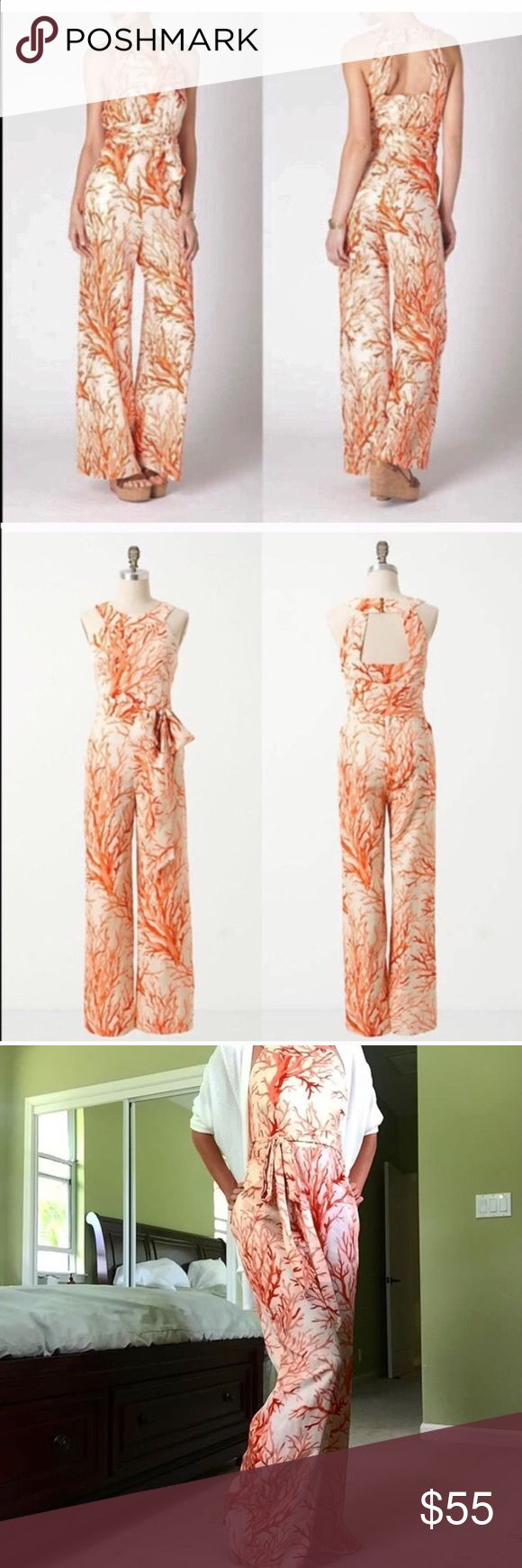 Lophelia Coral Jumpsuit *reposhing* Beautiful jumpsuit. Fit is amazing, material is soft and comfortable, but I doubt I will have anywhere to wear it :( impulse buy! Anthropologie Pants Jumpsuits & Rompers