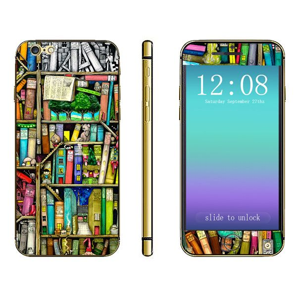 3D Bookshelf Pattern Full Body Sticker For iPhone 6 Plus & 6s Plus…