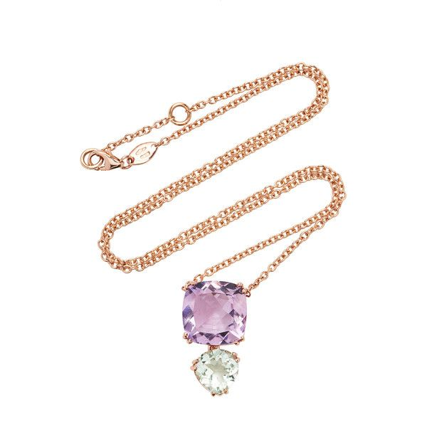 Alasia Anemoni Amethyst and Green Garnet Necklace (€1.140) ❤ liked on Polyvore featuring jewelry, necklaces, purple, amethyst stone necklace, demantoid garnet jewelry, amethyst jewellery, tsavorite jewelry and tsavorite garnet jewelry