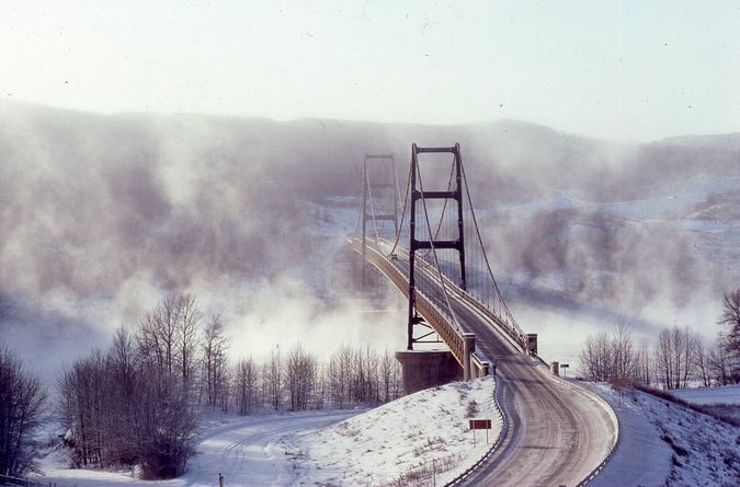 Dunvegan Bridge - a bridge across the Mighty Peace River, Alberta