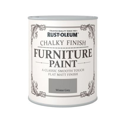 Rust-Oleum Winter Grey Chalky Finish Furniture Paintavailable from B&Q and Homebase for £14.99 much cheaper than Annie Sloan. I used a small gloss roller to transform my old ikea pine bed frame and finished with an excellent wax polish from ebay.