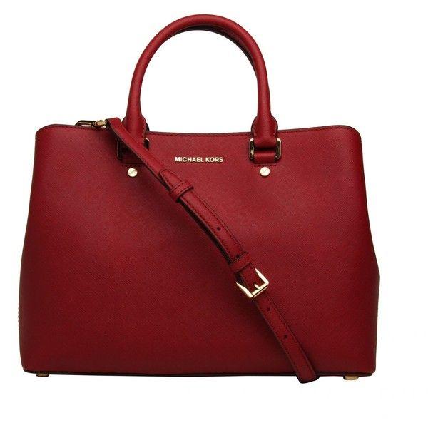 Savannah Large Satchel Michael Michael Kors Cherry found on Polyvore featuring bags, handbags, red, cherry red handbag, zip purse, red satchel, michael michael kors handbags and cherry purse
