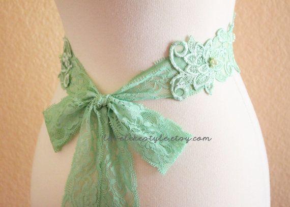Pearl Beading Mint Green  Flower Lace with Mint Green Stretch Lace Sash /, Bridal Sash, Bridesmaid Sash.  Sash