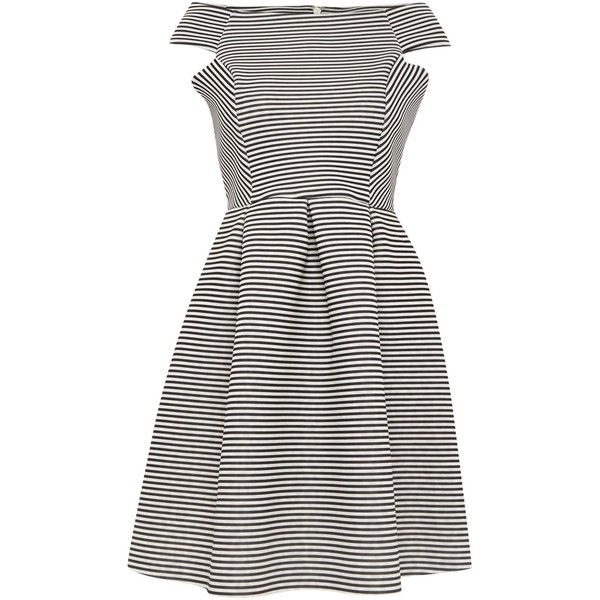Lipsy Michelle Keegan Off Shoulder Striped Scuba Dress ($100) ❤ liked on Polyvore featuring dresses, women, crew neck dress, white off the shoulder dress, striped dress, sleeveless dress and white stripe dress
