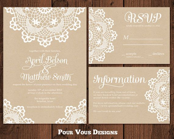 Rustic Doily Wedding Shower Invitation by PourVousDesigns on Etsy, $25.00