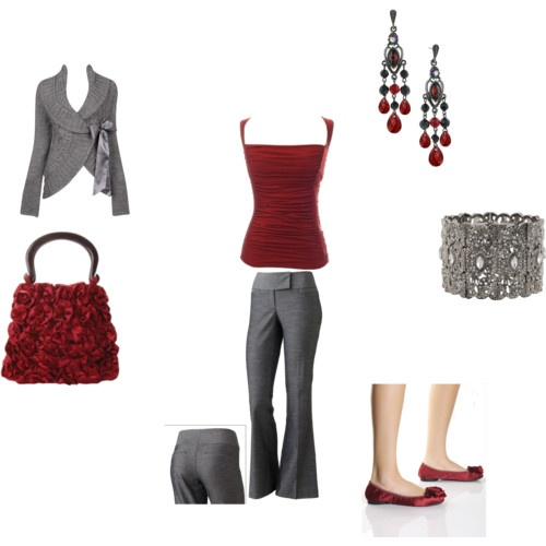 Crimson and gray dressy outfit