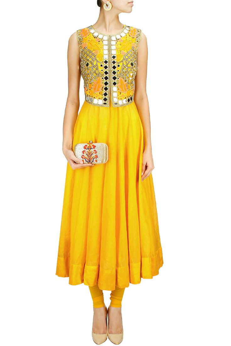 Sunny yellow anarkali set with mirror work falisa vest BY ARPITA MEHTA.