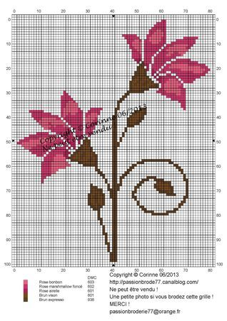 fleur- flower - broderie - embroidery -  - Point de croix - Blog : http://broderiemimie44.canalblog.com/