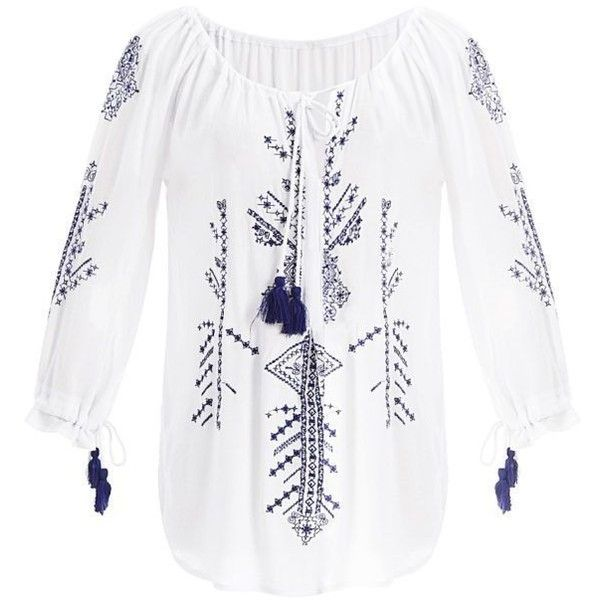 Peasant Blouse With Embroidery And String Tassels ($23) ❤ liked on Polyvore featuring tops, blouses, white peasant top, white embroidered top, tassel top, string top and white embroidered blouse