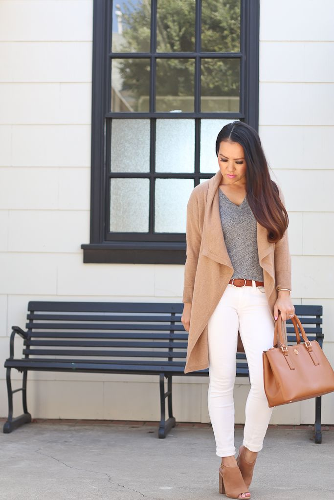 Fall outfit, neutral outfit, petite fashion, Halogen Cashmere Drape Cardigan Madewell Whisper Tee White Jeans - click the photo for outfit details!
