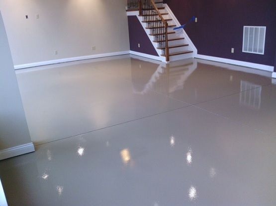 White epoxy paint waterproof basement flooring | Flooring Ideas | Floor Design Trends