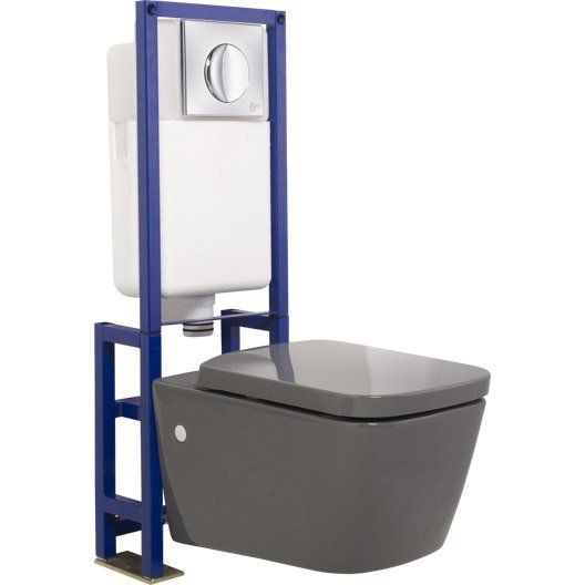 Pack wc suspendu b ti sol idealsmart gris d co maison for Wc suspendu decoration