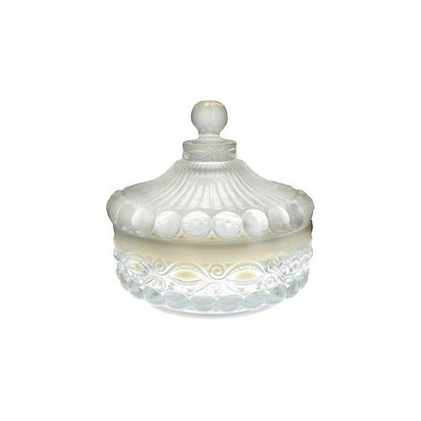 Eye Winker Pattern Glass: Crystal Opal Covered Candy Dish ($27) ❤ liked on Polyvore featuring home, kitchen & dining, serveware, accessories, glass covered candy dish, crystal covered candy dish, crystal serveware and glass serveware