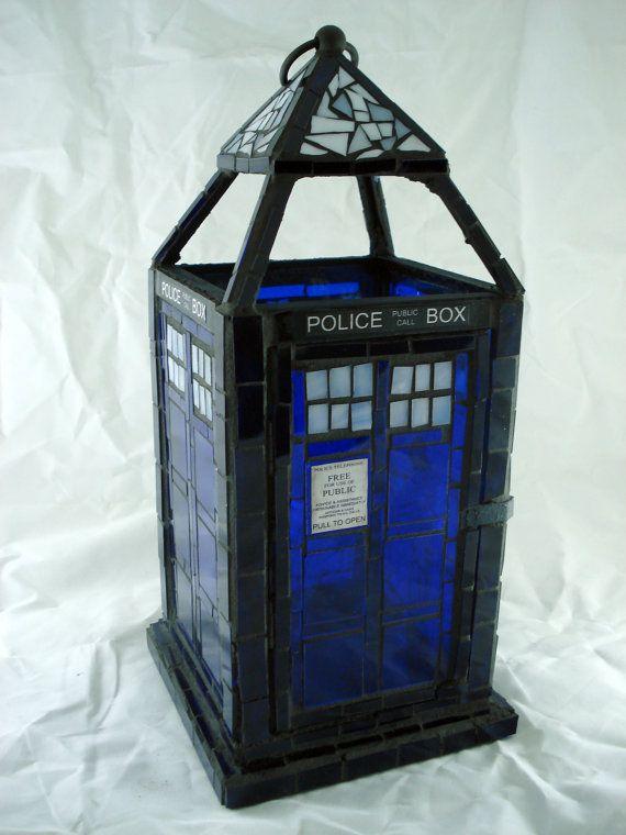 Doctor Who TARDIS Mosaic Lantern by piecesofmyart