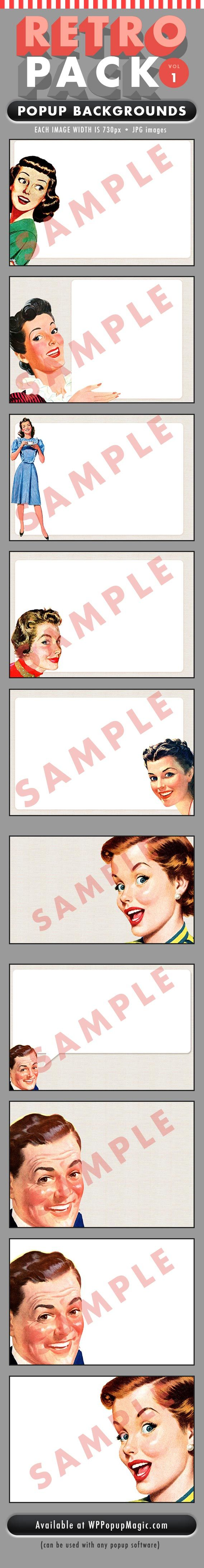 Introducing Retro Pack Vol. 1 Popup Backgrounds Grab your visitor's attention using these beautiful retro images. • Includes the 10 images below • Images are in .jpg format • Each image is 730px wide Want to see a live demo? Check out our Exit Popup demo here Reg. $37 Now only $17.00 Hurry as this...