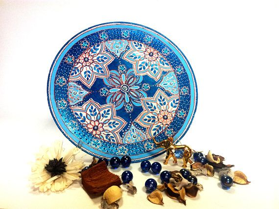 Porcelain wall art Blue mandala plates Round blue decorative  sc 1 st  Pinterest & 75 best Hand Painted Decorative Plates and Clocks images on ...
