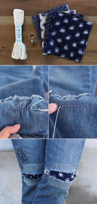 DIY Sashiko Patch Repair Tutorial from Honestly WTF.Repair...