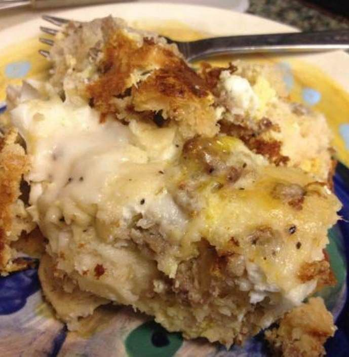 Biscuits and Gravy Breakfast Casserole recipe with sausage and cheese