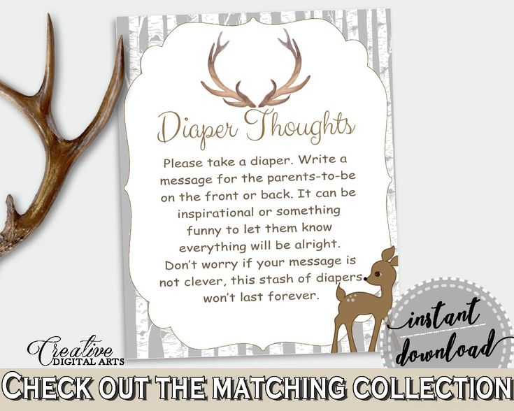 Diaper Thoughts Baby Shower Diaper Thoughts Deer Baby Shower Diaper Thoughts Baby Shower Deer Diaper Thoughts Gray Brown party décor Z20R3 - Digital Product #babyshowergames #babyshowerdecorations